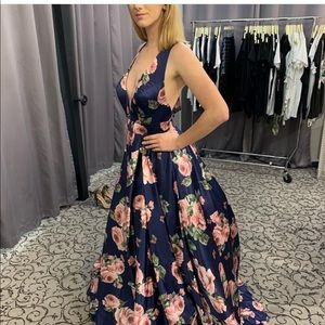 Floral print Jovani gown with bow back